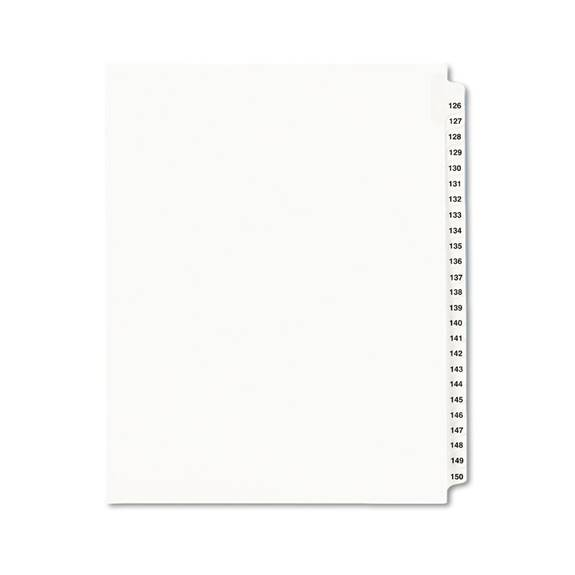 Avery-Style Legal Exhibit Side Tab Divider, Title: 126-150, Letter, White