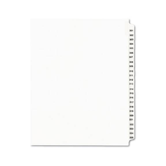 Avery-Style Legal Exhibit Side Tab Divider, Title: 301-325, Letter, White