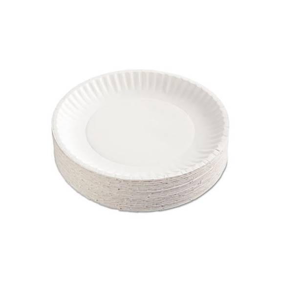 "Paper Plates, 9"" Diameter, White, 100/pack"