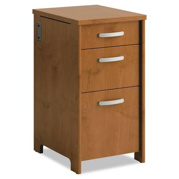 Envoy Series Three-Drawer Pedestal, 16w X 20d X 30 1/4h, Natural Cherry
