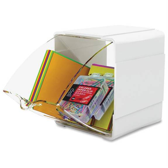 Tilt Bin Interlocking 1-bin Organizer, 4 3/4 X 4 7/8 X 5 1/2, White/clear