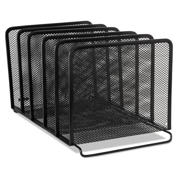 Mesh Stacking Sorter, Five Sections, Metal, 8 1/4 X 14 3/8 X 7 7/8, Black (1 EA)