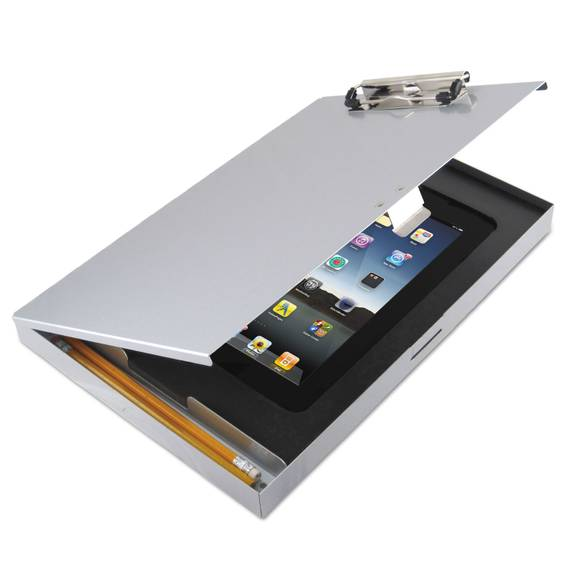 Tuffwriter Recycled Aluminum Storage Clipboard For Ipad Air, 8 1/2 X 12, Silver