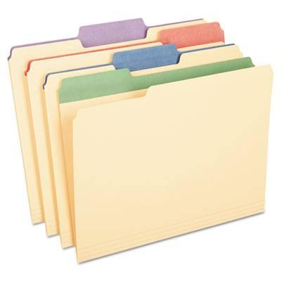 """Color Tab File Folders, 1/3 Cut, 3/4"""" Exp., Letter, 50/bx"""