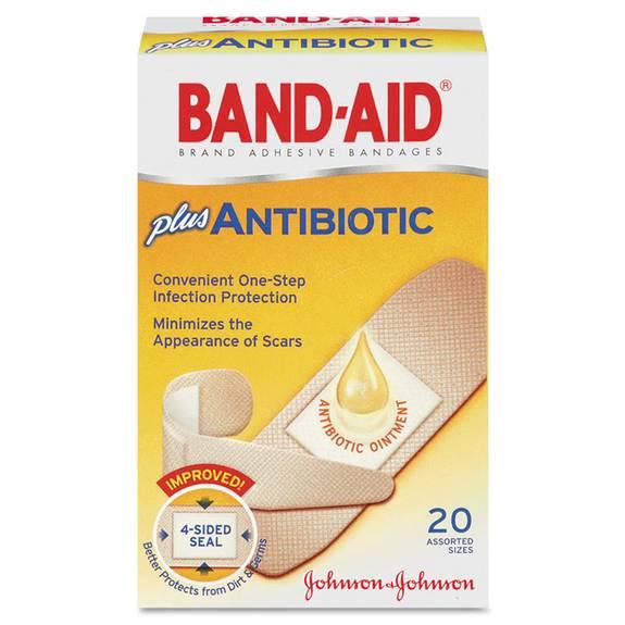 Antibiotic Adhesive Bandages, Assorted Sizes, 20/box