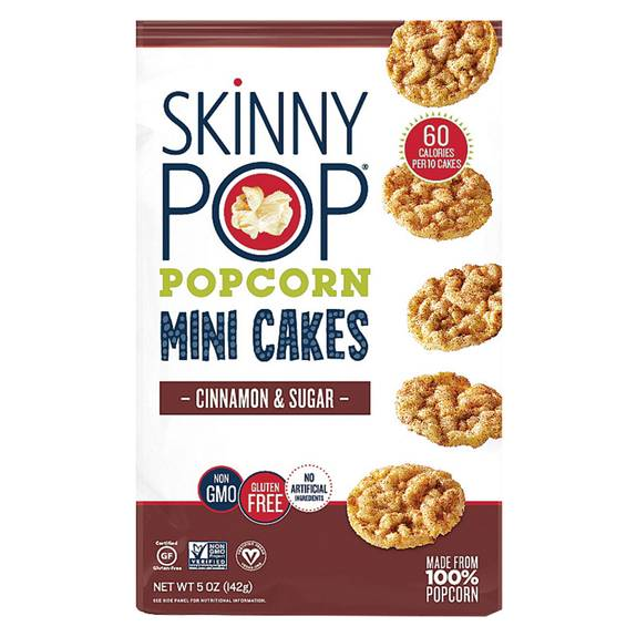 Skinnypop Popcorn Popcorn - Mini Cakes - Cinnamon and Sugar - Case of 12 - 5 oz