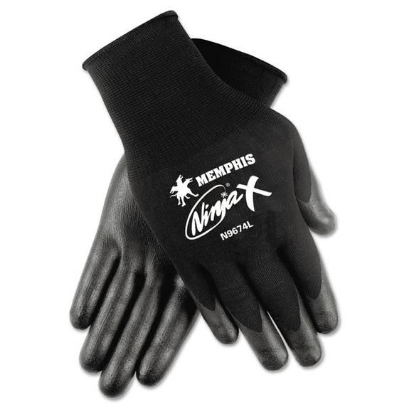 Ninja X Bi-Polymer Coated Gloves, Large, Black, Pair