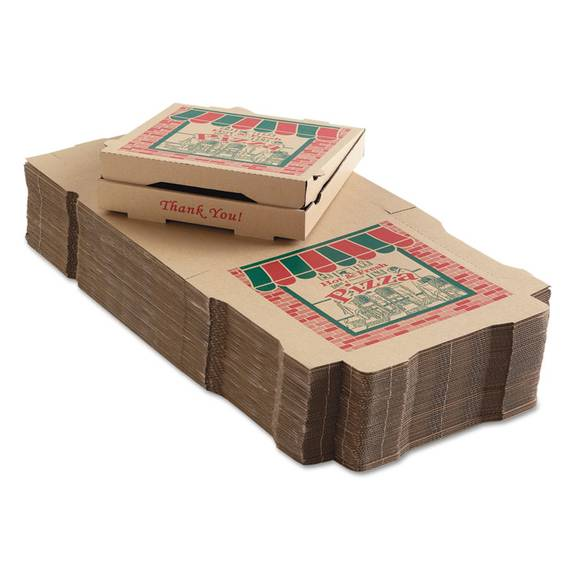 Corrugated Pizza Boxes, 12 X 12 X 1 3/4, Kraft, 50/carton