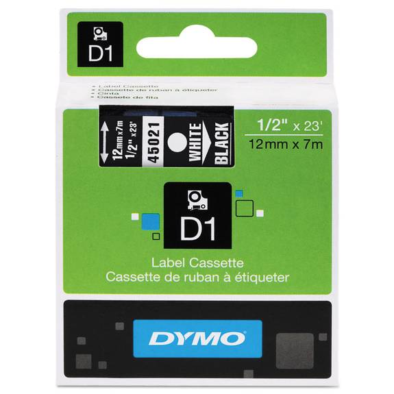 """D1 High-Performance Polyester Removable Label Tape, 1/2"""" X 23 Ft, White On Black"""