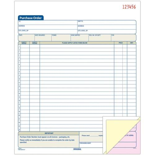 Adams 3-Part Carbonless Purchase Order Book (EA/EACH)