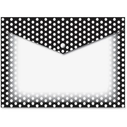 Ashley B/W Dots Design Snap Poly Folders (PK/PACKAGE)