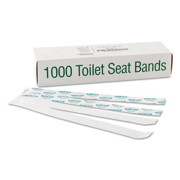 "Sani/shield Printed Toilet Seat Band, Paper, Blue/white, 16"" Wide X 1-1/2"" Deep"
