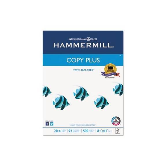 Copy Plus Copy Paper, 92 Brightness, 20lb, 8-1/2 X 11, White, 5000 Sheets/carton