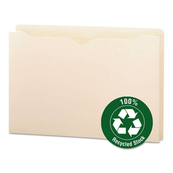 """100% Recycled Top Tab File Jackets, Legal, 2"""" Exp, Manila, 50/box"""