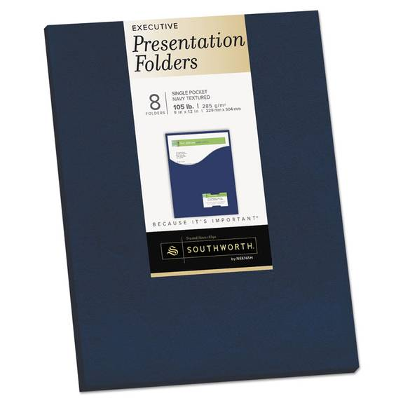 One-Pocket Presentation Folders, 8 1/2 X 11, Navy, 8/pack