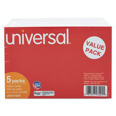 Unruled Index Cards, 4 X 6, White, 500/pack
