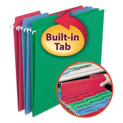 Fastab Hanging File Folders, Letter, Assorted Primary, 18/box