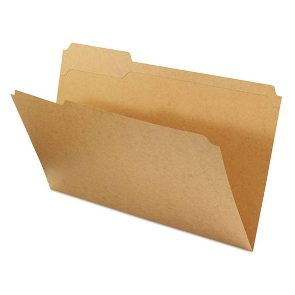 Kraft File Folders, 1/3 Cut Assorted, Top Tab, Legal, Kraft, 100/box