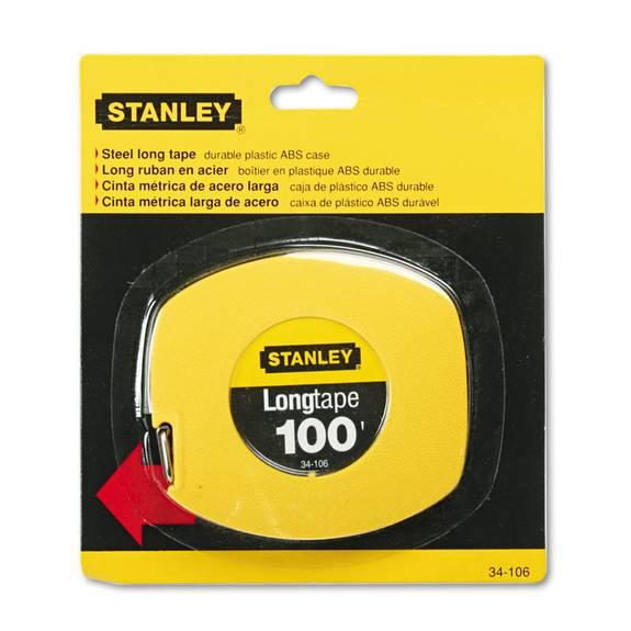 "Long Tape Measure, 1/8"" Graduations, 100ft, Yellow"