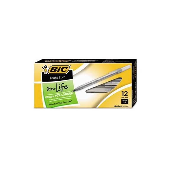 Round Stic Xtra Precision & Xtra Life Ballpoint Pen, Black Ink, 1mm, Medium, Dz