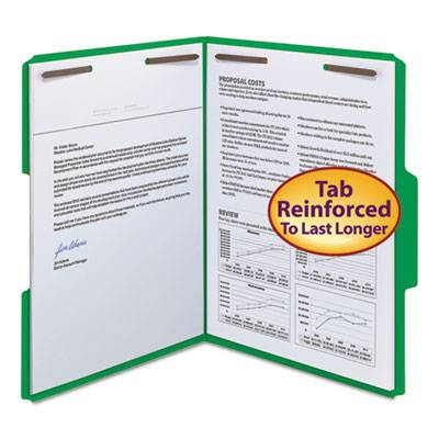 Watershed/cutless Reinforced Top Tab 2-fastener Folders, 1/3-cut Tabs, Letter Size, Green, 50/box