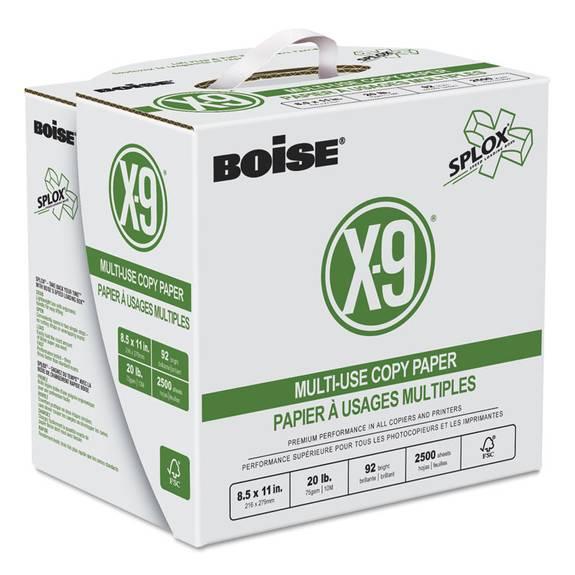 X-9 Splox Multi-Use Copy Paper, 92 Bright, 20lb, 8-1/2x11, White, 2500/ct