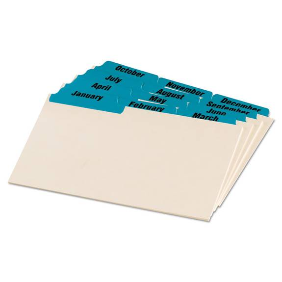 Laminated Tab Index Card Guides, Monthly, 1/3 Tab, Manila, 5 X 8, 12/box