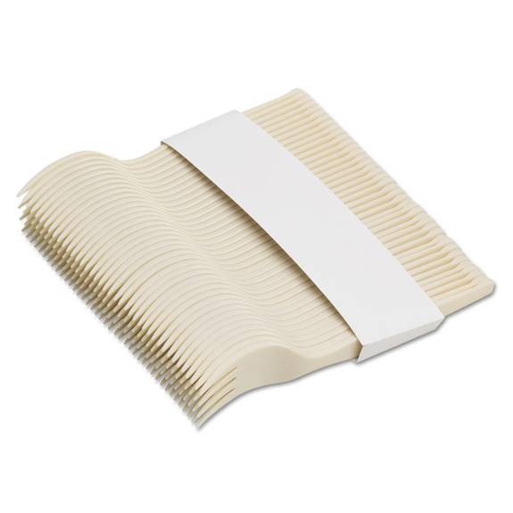 "Smartstock Plastic Cutlery Refill, Forks, 6 1/2"", Beige, 40/pack, 24 Packs/case"