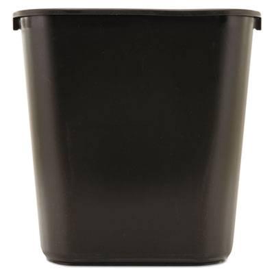 Deskside Plastic Wastebasket, Rectangular, 7 Gal, Black