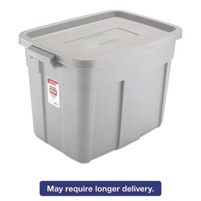 Roughneck Storage Box, 16 X 24 X 16 1/2, 18 Gallon, Steel Gray