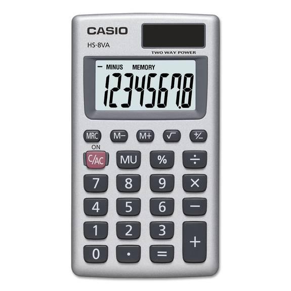 Hs 8va Handheld Calculator 8 Digit Lcd Silver Ebay