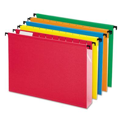 """Poly Laminate Hanging Folders, 1/5 Tab, 2"""" Expansion, Letter, Assorted, 20/box"""
