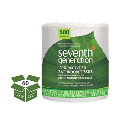 100% Recycled Bathroom Tissue, 2-Ply, White, 500 Sheets/jumbo Roll, 60/carton