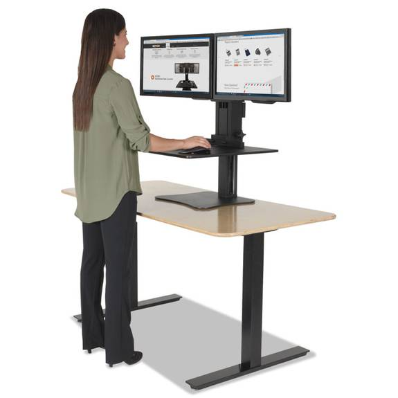 High Rise Dual Monitor Sit-Stand Workstation, 28 X 23 X 15 1/2, Black