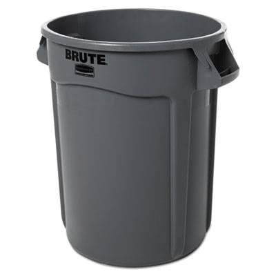 Round Brute Container, Plastic, 32 Gal, Gray