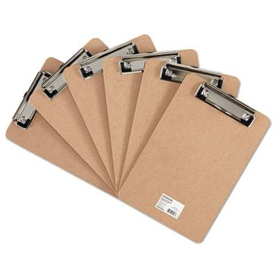 """Hardboard Clipboard With Low-Profile Clip, 1/2"""" Capacity, 5 X 8, Brown, 6/pk"""