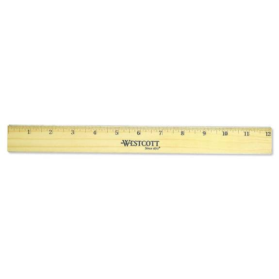 """Flat Wood Ruler W/two Double Brass Edges, 12"""", Clear Lacquer Finish"""
