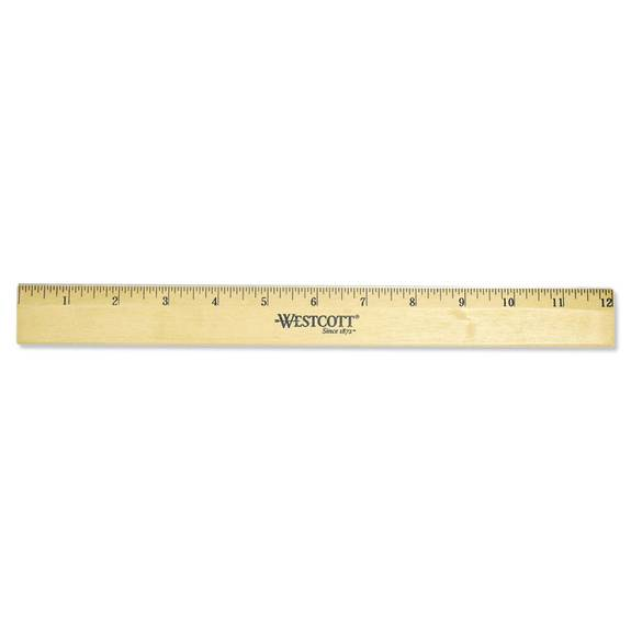 Wood Ruler With Single Metal Edge, 12 Inch