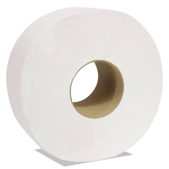 "Decor Jumbo Roll Jr. Tissue, 2-ply, White, 3 1/2"" X 750 Ft, 12 Rolls/carton"