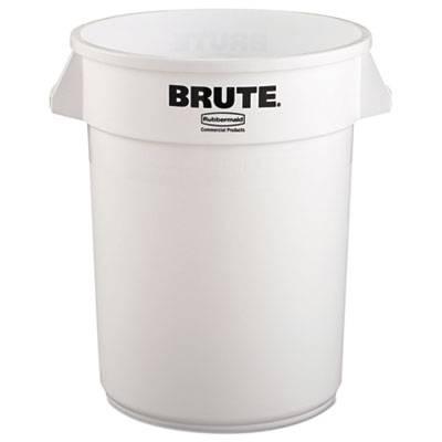 Round Brute Container, Plastic, 32 Gal, White