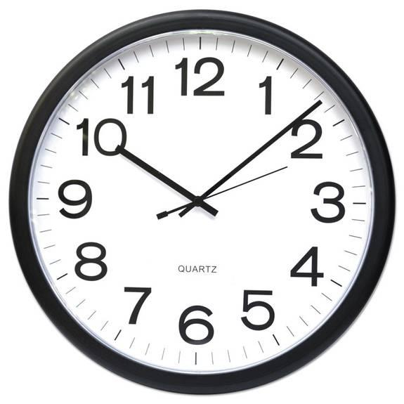Round Wall Clock, Black, 12 Inch