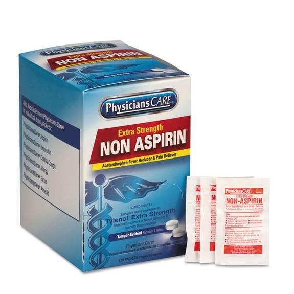 Pain Relievers/medicines, Xstrength Non-Aspirin Acetaminophen,2/packet,125 Pk/bx