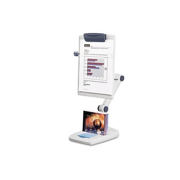 Flex Arm Weighted Base Copyholder, Plastic, 150 Sheet Capacity, Platinum