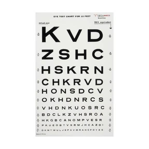 Graham field Health Illuminated Eye Chart-Snellen 10' Distance Part No.1264