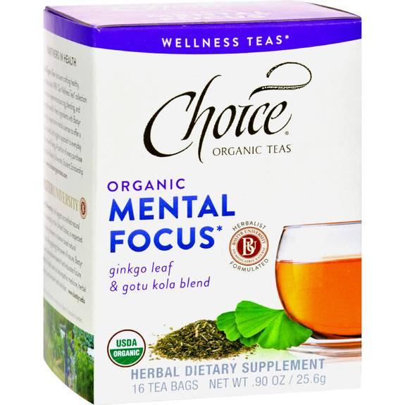 Choice Organic Teas - Organic Mental Focus Tea - 16 Bags - Case Of 6