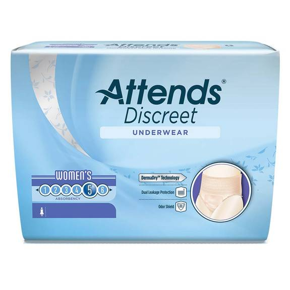 Attends Discreet Underwear, Women's Large Size 16-20 Part No. Aduf30 (72/case)