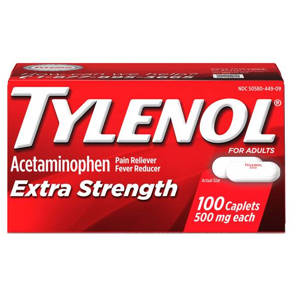 Tylenol Extra Strength, 500 mg Acetaminophen caplet, 100 count (pack of 1)