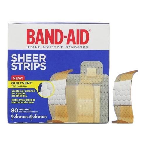 Band-Aid Sheer Strip Adhesive Bandage, Assorted 80 Count Part No. 117134 Qty  Per Box