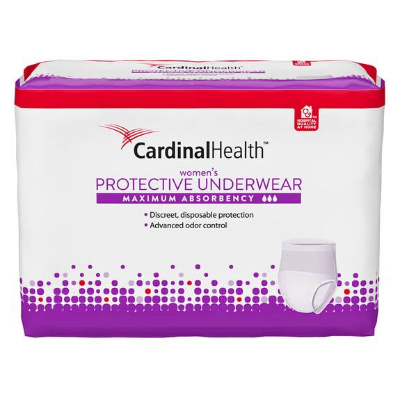 "Cardinal Maximum Absorbency Protective Underwear for Women, Medium, 32 - 44"", 95 - 185 lbs Part No. UWFSM20 Qty  Per Package"