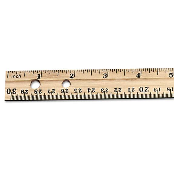 "Economical Beveled Wood Ruler W/single Metal Edge, 12"", Natural, 36/box"